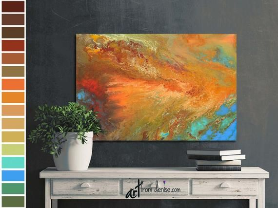 Large abstract fall pictures, Brown orange & blue canvas wall art for dining living room decor above couch or dorm room decor over bed