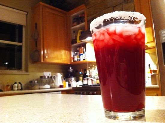 fancy non-alcoholic valentine pomegranate drink