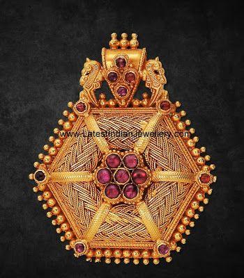 Elegant Antique Pendant with Rubies   Latest Indian Jewellery Designs