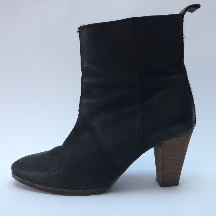 Country Road All Leather Ankle Boots Black Size 38 AU 7.5 Cuban Heel Zipper  | eBay