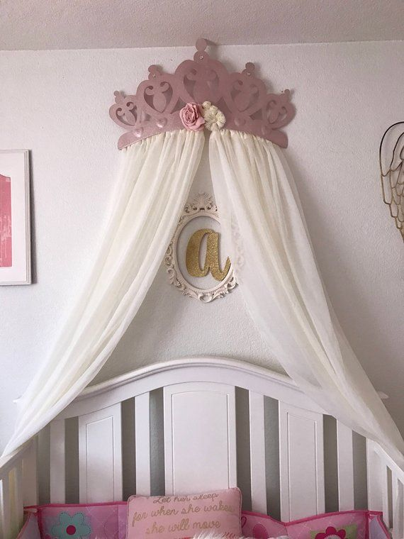 Best Crib Canopy Bed Crown Rose Gold Flower Pink Princess Wall 640 x 480