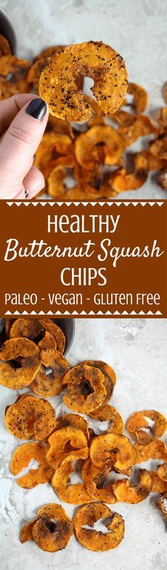 Healthy Butternut Squash Chips are salty, crunchy + slightly sweet. Made with only 4 ingredients, they're the perfect snack to satisfy your junk food cravings! | butternut squash recipes | healthy butternut squash recipes | squash chips | healthy snacks | healthy chip recipe | veggie chips