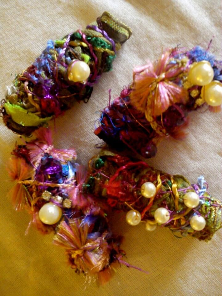 Hand made recycled fabric beads!