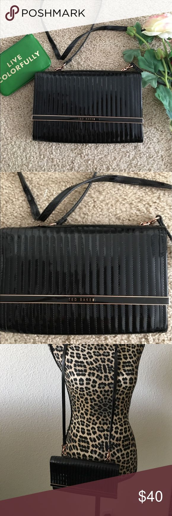 Ted Baker Crossbody Purse Good used condition Ted Baker Crossbody purse. Color is black and is Patent. Shows minor wear but not too noticeable such as mild scuffing. ❤ Baker by Ted Baker Bags Crossbody Bags