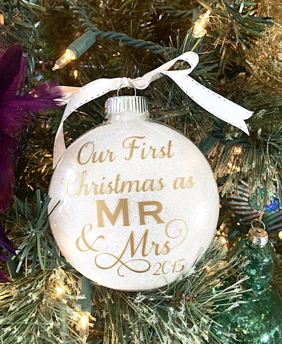 """Our First Christmas Ornament - Wedding Present - Bridal Shower Gift - Gold Glitter Christmas Ornament - Customizable 4"""" Glass Ornament"""