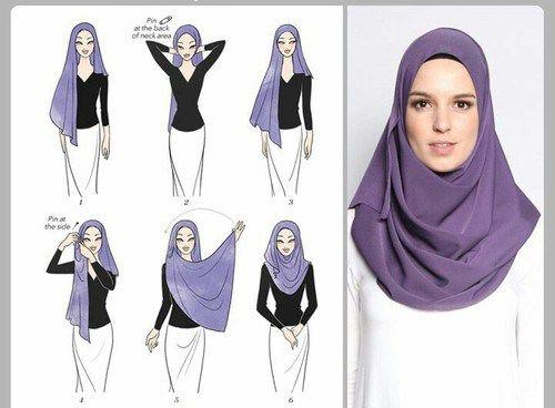Purple shayla style hijab