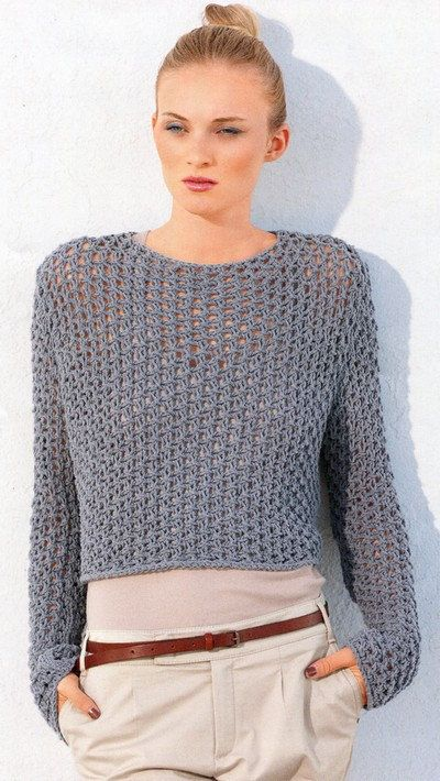See Through Fishnet Sweater Knitting Pattern PDF