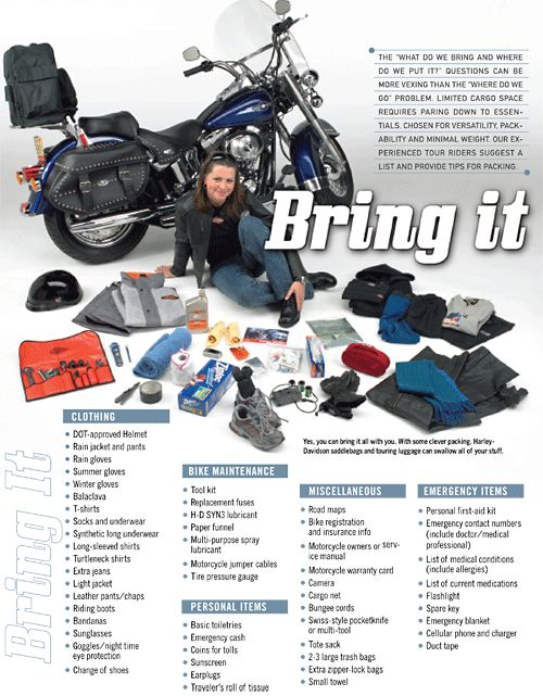 Hd Recommends Things To Pack On A Long Motorcycle Trip News