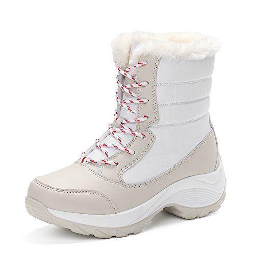 Bottes Hiver Femme,JACKSHIBO Bottes de Neig Fille Fourrure Bottines Lacets Boots Plates: Sélection de la tige en cuir de haute qualité et…
