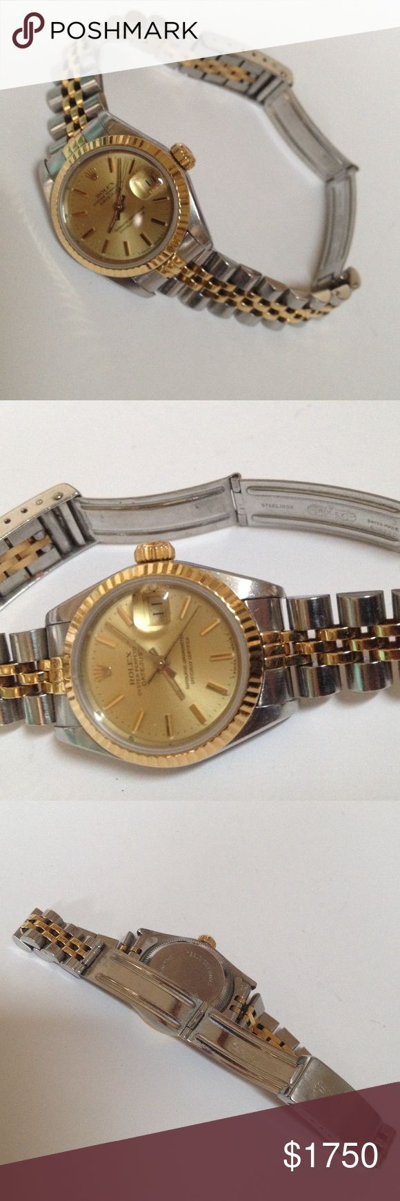 Authentic ROLEX Datejust Oyster Perpetual Watch Loved and wore it forever, time to let it go. Authentic ROLEX Woman's Datejust Oyster Perpetual Calendar Watch. 18K Yellow Gold and Stainless Steel Band. 18K Yellow Gold Bezel. Deployment style clasp. Pre loved, will show normal use and wear. Professionally maintained since the day I had it. Recently appraised for $3,200. PRICE IS FIRM, No Trades. Accessories Watches