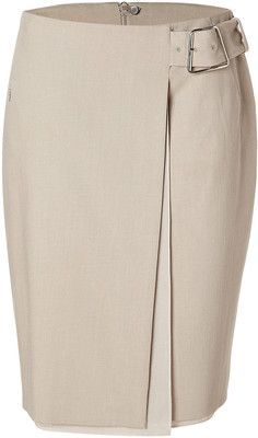 AKRIS Sand Denim Wrap Skirt - Polyvore