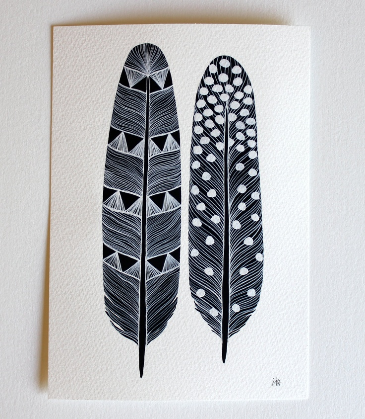 Feather Painting - Monochrome Art - Watercolor Home Decor