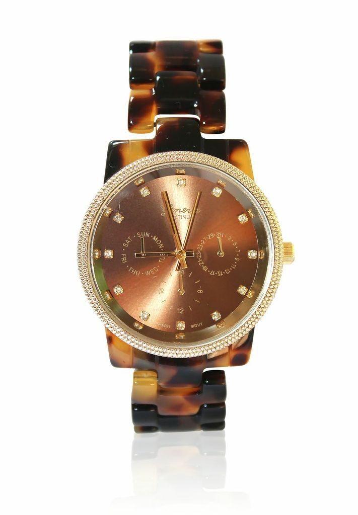 Tortoise Watch with Gold Tone Bezel