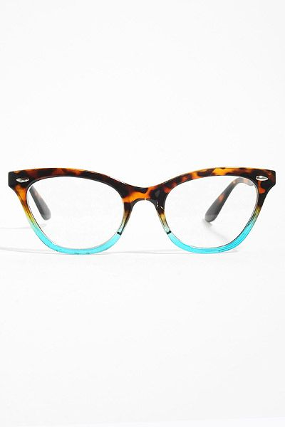 emma gradient frame cat eye clear glasses tortoiseteal
