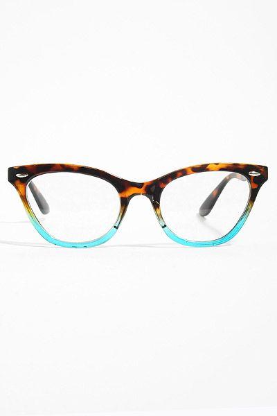 'Emma' Gradient Frame Cat Eye Clear Glasses - Tortoise/Teal ......Ummmmm yes please!