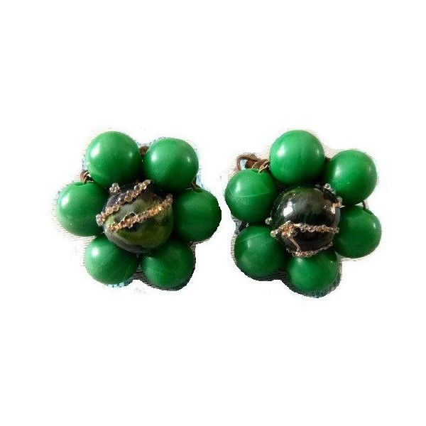 SALE Vintage Emerald Green Bead Earrings by PopcornVintageByTann featuring polyvore
