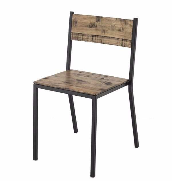Silla estilo industrial para restaurantes, cafeterías y bares, con asiento y resplado en madera, junto a estructura metálica.