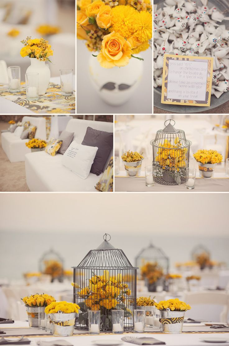 gray and yellowTables Sets, Birds Cages, Gray Wedding, Grey Wedding, Yellow Wedding, Wedding Ideas, Birdcages, Wedding Colors, Yellow Flower