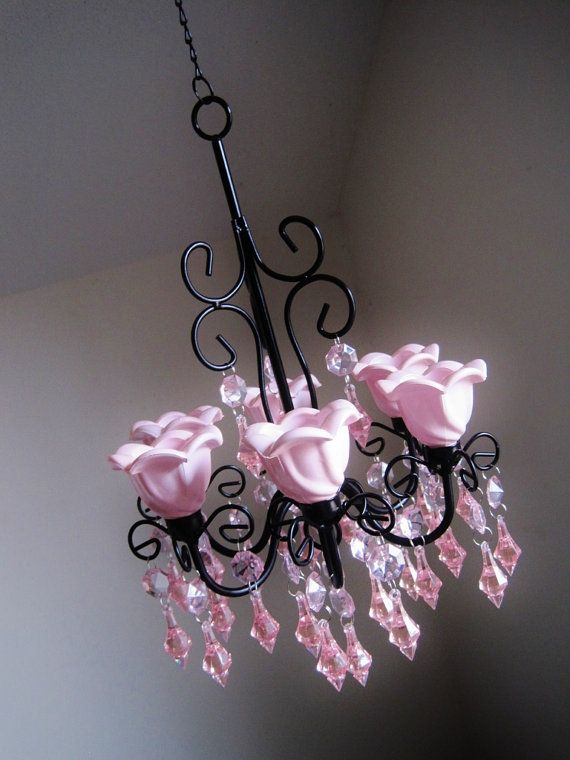 Paris Apartment Candle Chandelier In Pink by ShabulousChandeliers
