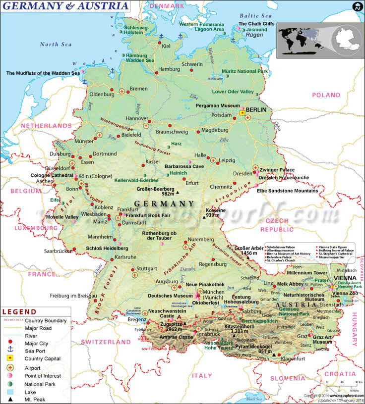 Best Places To Travel Europe April: Map Of Germany And Austria