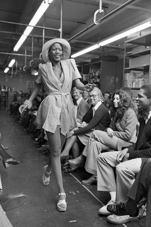 Bethann Hardison modeling for the designer Willi Smith in 1973. Image Credit: wwd.com