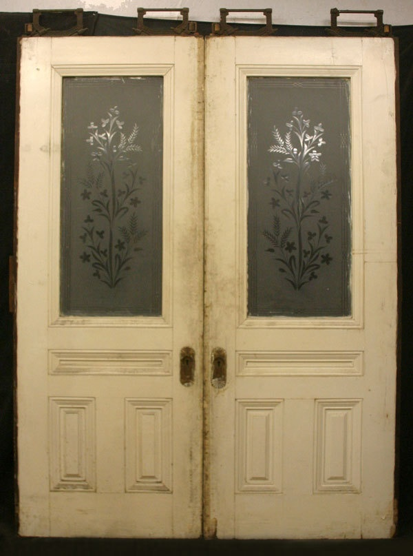 Antique Etched Glass Windows For Sale