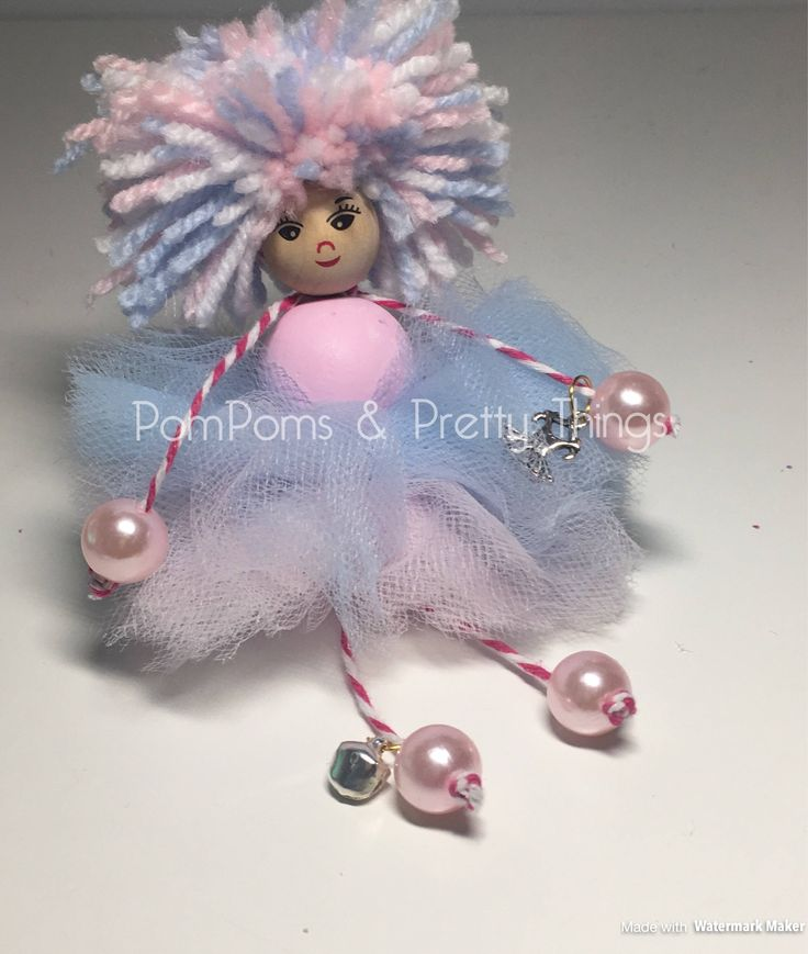 Fairy Doll, Decorative Doll, PomPom Doll, Doll, Display Fairy, Cute Fairy, Pink Fairy, Blue Fairy, Magical Fairy, Tutu, Ballet Fairy by PomPomsPrettyThings on Etsy