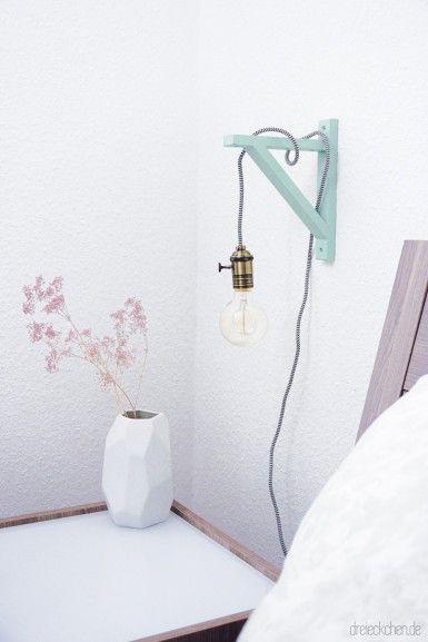 Best DIY Lampe mit Holzrahmen Textilkabel und Gl hbirne u sch nes Licht im Vintage Stil