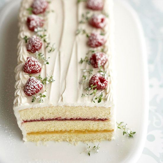 Recipe: Torte topped with raspberries, lemon thyme, and a dusting of powdered sugar