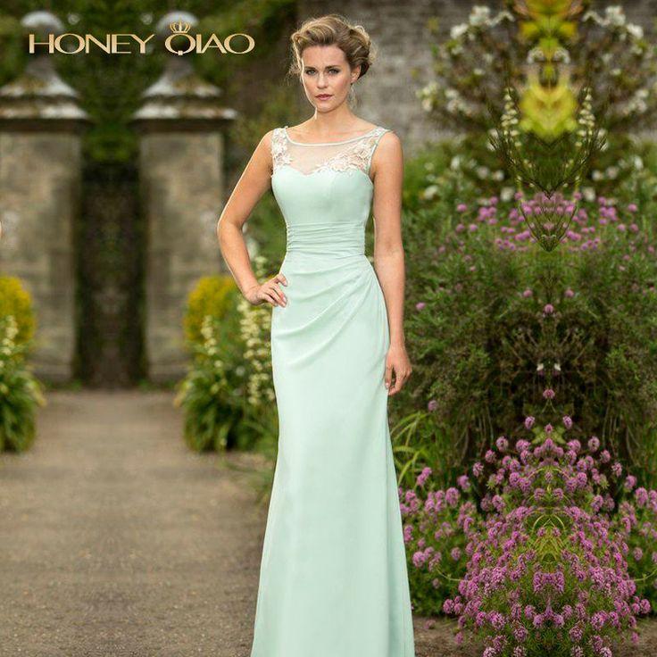 Honey Qiao Bridesmaid Dresses 2017 Mint Chiffon Illusion Lace Neck Floor Length Pleats Corset Cheap Elegant Long Prom Gowns