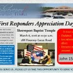 """Calling all law enforcement officers, firefighters and emergency medical personnel. Ark-La-Tex first responders are invited to the 3rd Annual """"First Responders Appreciation Day"""" at Shreveport Baptist Temple on Mar. 6 to honor our community heroes. """"This is..."""