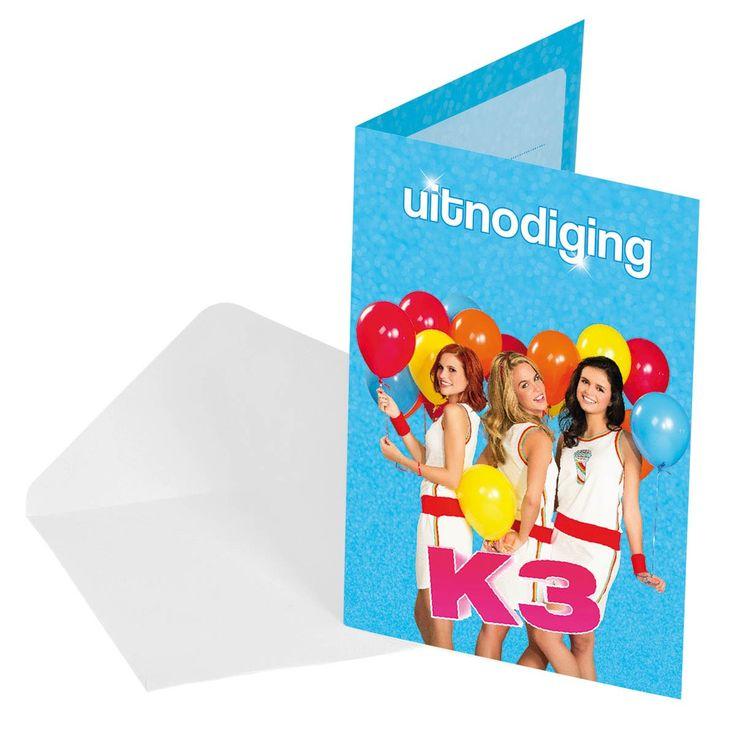 Nodig je vriendinnen uit voor je verjaardagsfeestje met deze uitnodigingen van K3. De 8 dubbele kaartjes hebben je favoriete zangeressen op de voorzijde en een handige invultekst aan de binnenzijde. Inclusief bijpassende enveloppen. Afmeting: 15 x 10 cm - K3 Uitnodigingen, 8st.