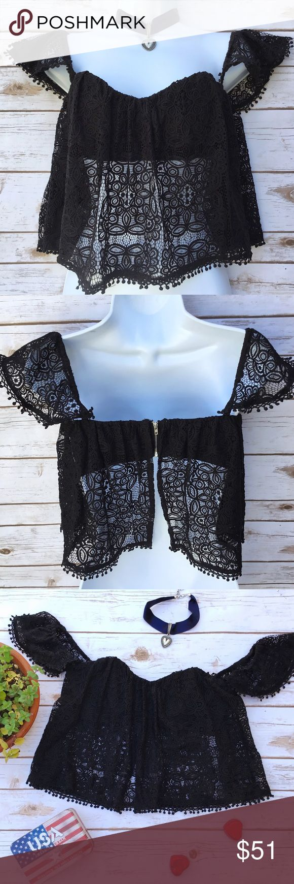 Black BOHO Festival Bandeau Top w/Lace Overlay Just add cut off shorts and you are good to go! Super sexy top, can be worn on or off shoulder. The attached bandeau has boning in front and zips in back. Size S, measures about 14.5 inches across the bust and about 15 inches in length. 0270 Cotton Candy LA Tops