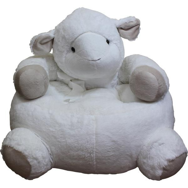 This soft & cute white sheep is no ordinary sheep- He features a thick, cushioned seat designed for lounging. The kid-friendly size and soft, fuzzy material