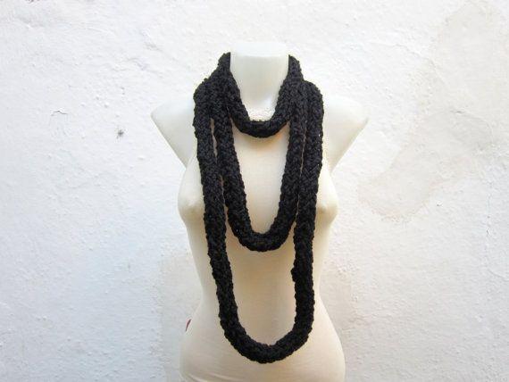 Crochet Scarf infinity Finger Knitting Scarf Black  by scarfnurlu