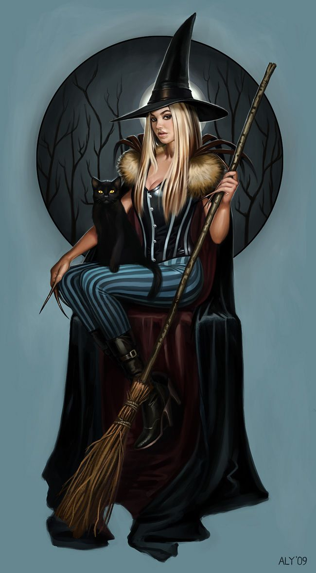 Witch Picture (2d, fantasy, witch, girl, woman, elf, warrior ...