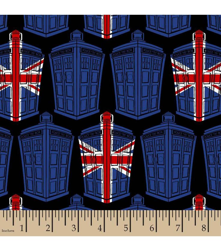 Doctor Who British Flag Tardis Cotton Fabric
