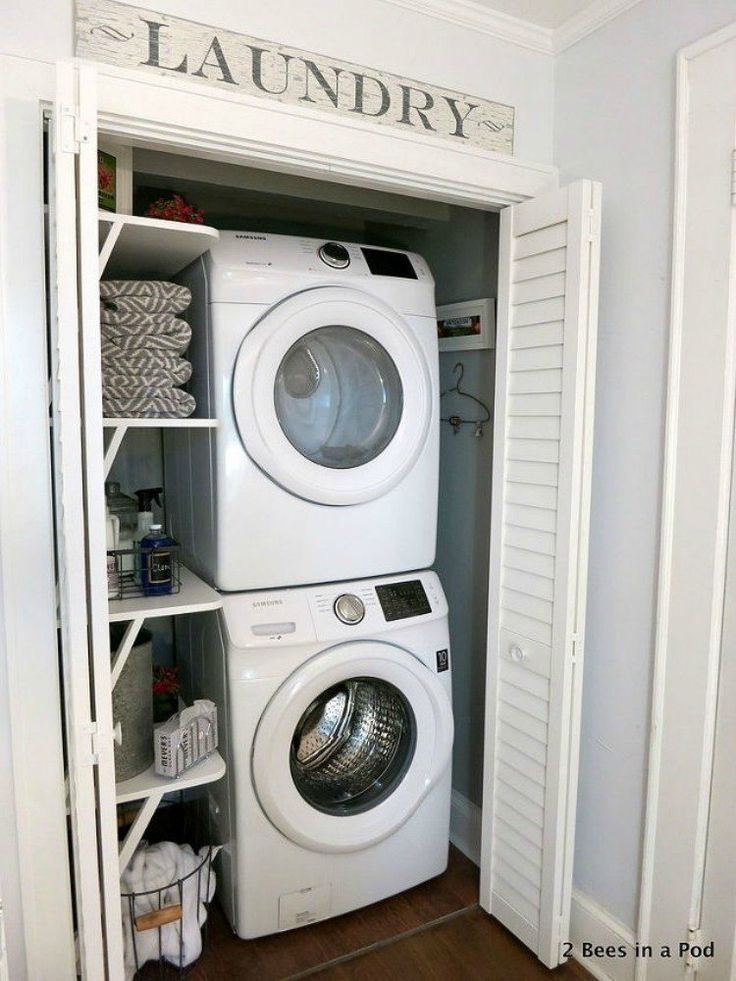 Best 25 small laundry closet ideas on pinterest laundry room small ideas small laundry space - Small space washing machines set ...