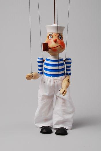 Marionet. Handpop. Touwtjespop. Marynarz Studia Truhlar Marionetka. Popeye. Zeeman. Matroos.