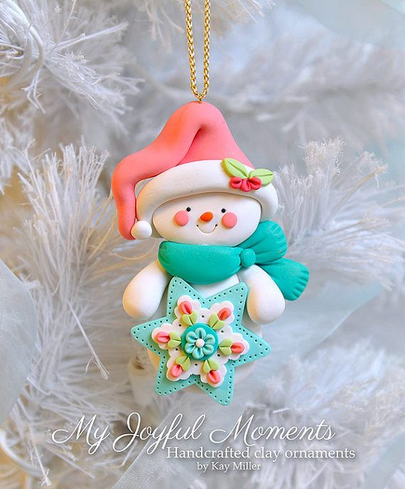 Handcrafted Polymer Clay Snowman Ornament par MyJoyfulMoments                                                                                                                                                                                 Plus