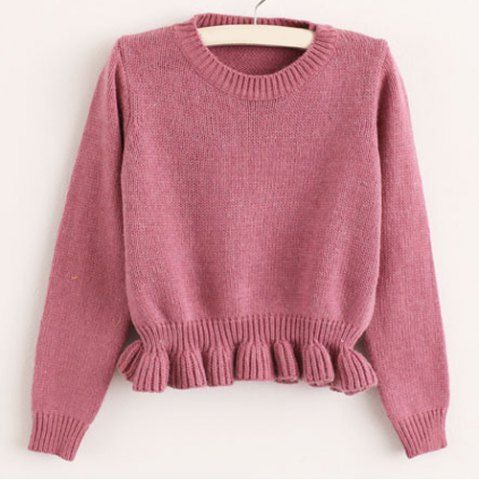 Sweet Style Round Collar Long Sleeve Solid Color Women's Sweater