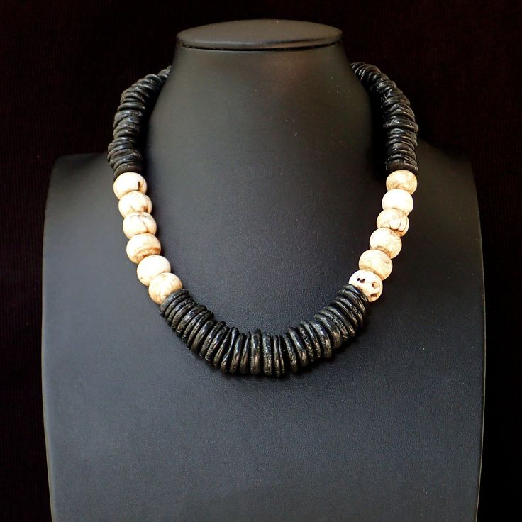 Necklace with petrified aged shell, black agate slices, silver clasp. Statement, handmade, gemstone, black & white, for her, unique, OOAK by Menir on Etsy