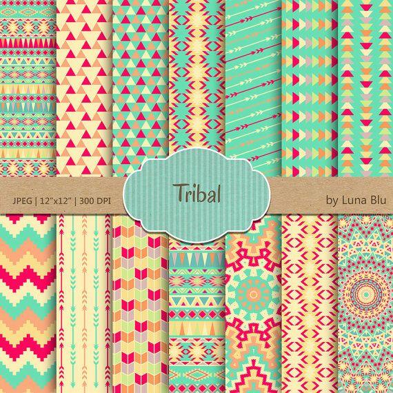 Tribal papier numérique:  Motifs tribaux  par Lunabludesign sur Etsy