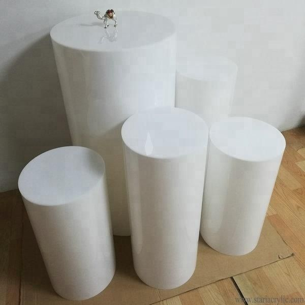 Source White Acrylic Party Round Plinths Acrylic Cylinder