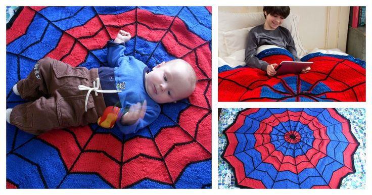Knit Spiderman Blanket with Free Pattern