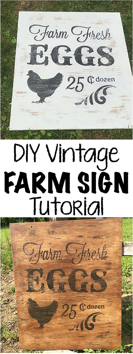 This DIY vintage farm sign tutorial is delightfully shabby and the perfect beginner's project.