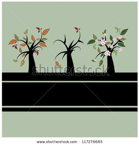 autumn winter and spring symbols,trees and leafs vector illustration by Erika Mihaljev
