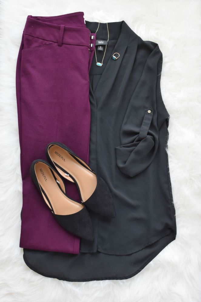 Plum pants and d'orsay flats |www.pearlsandsportsbras.com|