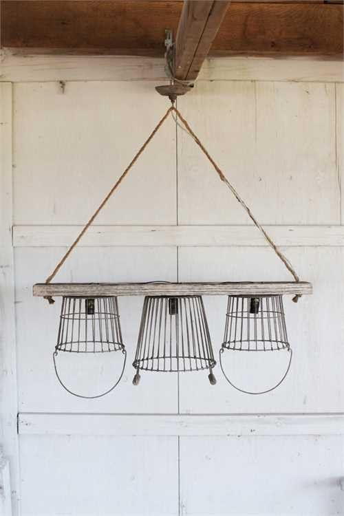 Rustic Metal & Wood 3 Light Basket Chandelier