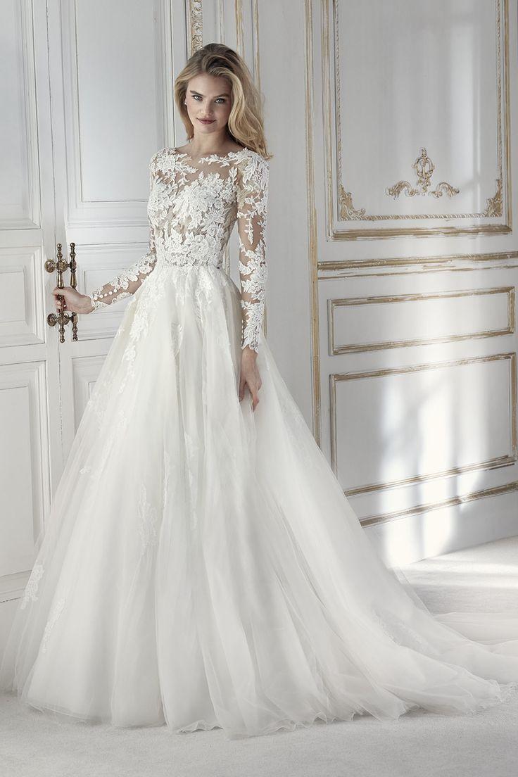 2019 Scoop vestidos de novia una línea de manga larga de tul con apliques espalda abierta US$ 259.00 VEPLCM2658